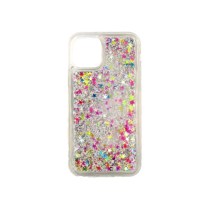θήκη iphone 11 / 11 pro σιλικόνη glitter και αστεράκια πολύχρωμο 3