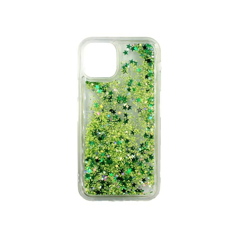 θήκη iphone 11 / 11 pro σιλικόνη glitter και αστεράκια πράσινο 2