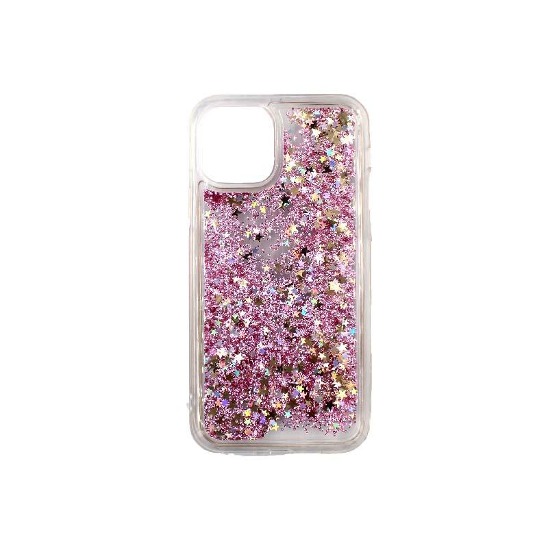 θήκη iphone 11 / 11 pro σιλικόνη glitter και αστεράκια rose gold 3