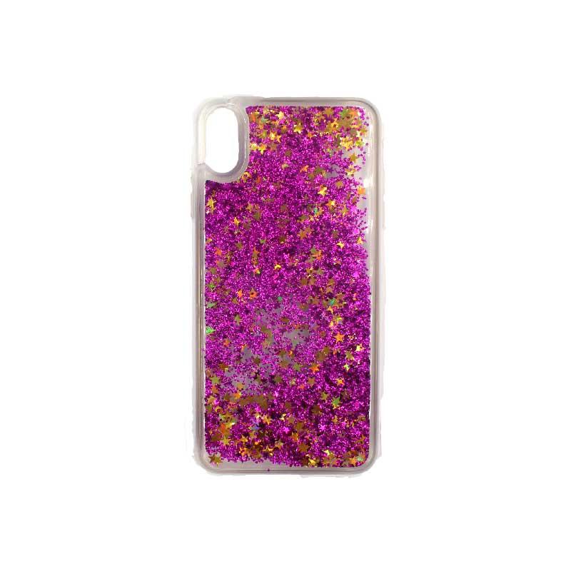 θήκη iphone X / XS / XR / XS MAX pro σιλικόνη glitter και αστεράκια φούξια 1