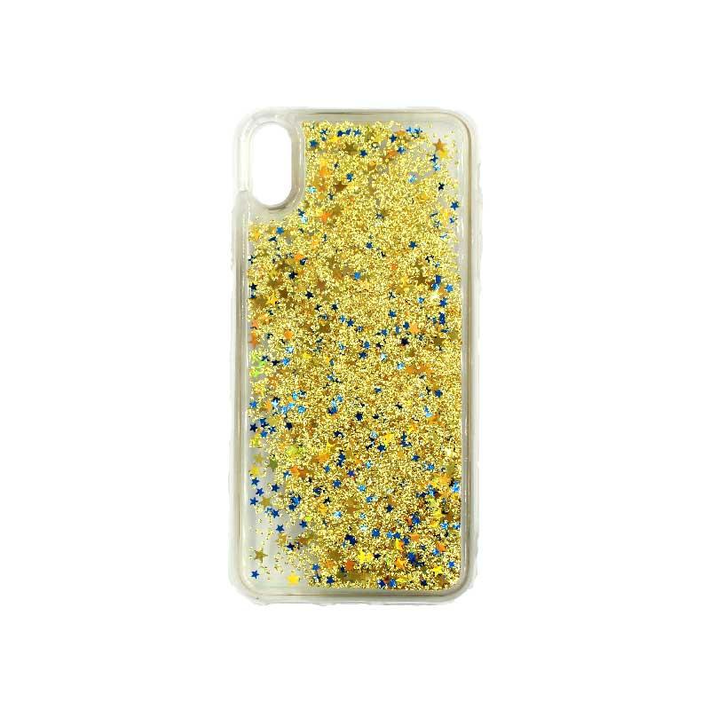 θήκη iphone X / XS / XR / XS MAX pro σιλικόνη glitter και αστεράκια κίτρινο 1