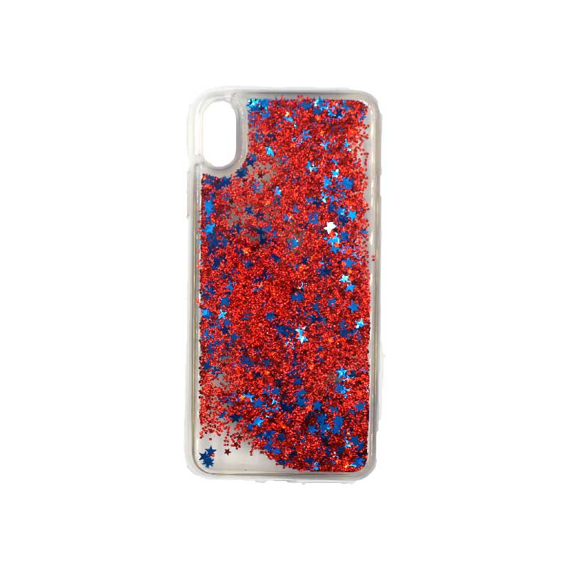 θήκη iphone X / XS / XR / XS MAX pro σιλικόνη glitter και αστεράκια κόκκινο 1