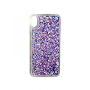 θήκη iphone X / XS / XR / XS MAX pro σιλικόνη glitter και αστεράκια μοβ 2