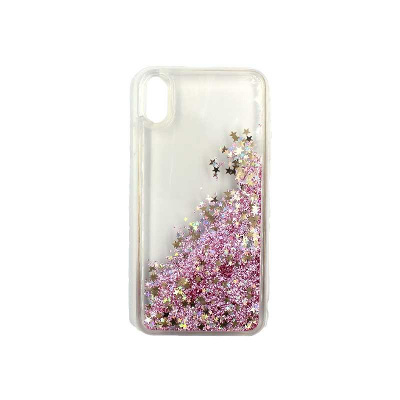 θήκη iphone X / XS / XR / XS MAX pro σιλικόνη glitter και αστεράκια rose gold 1