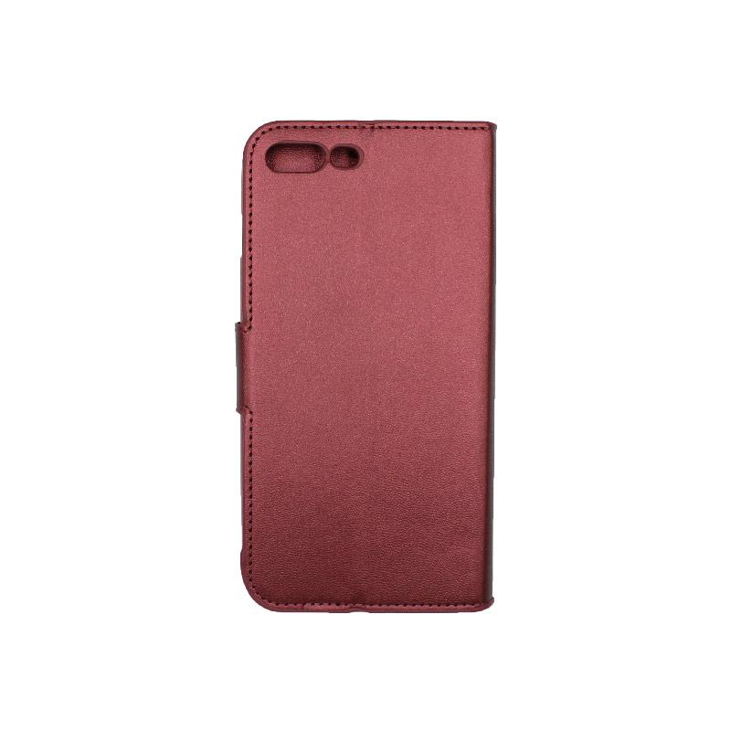 Θήκη iPhone 7 Plus / 8 Plus πορτοφόλι με κράτημα μπορντό 2