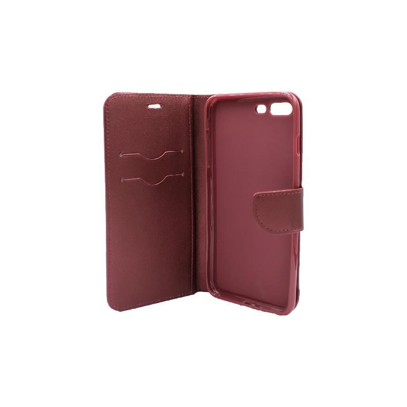 Θήκη iPhone 7 Plus / 8 Plus πορτοφόλι με κράτημα μπορντό 3