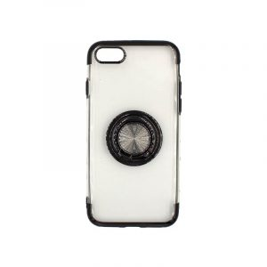 θήκη iphone 7 / 8 / SE 2020 διάφανη σιλικόνη popsocket μαύρο 1