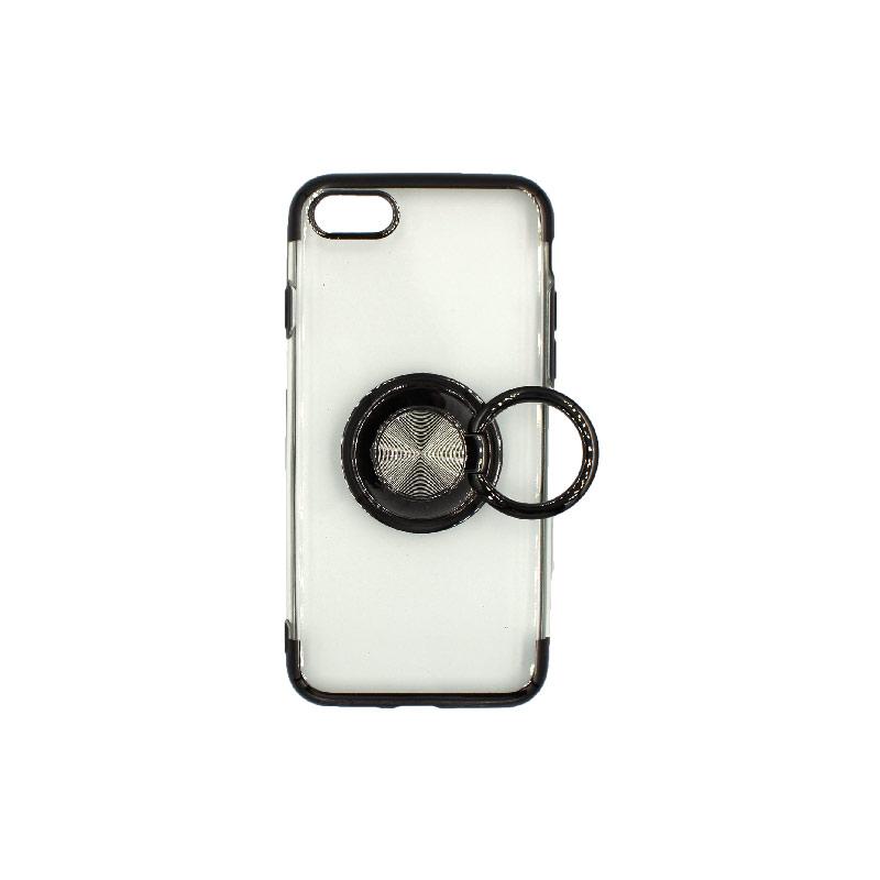 θήκη iphone 7 / 8 διάφανη σιλικόνη popsocket μαύρο 3