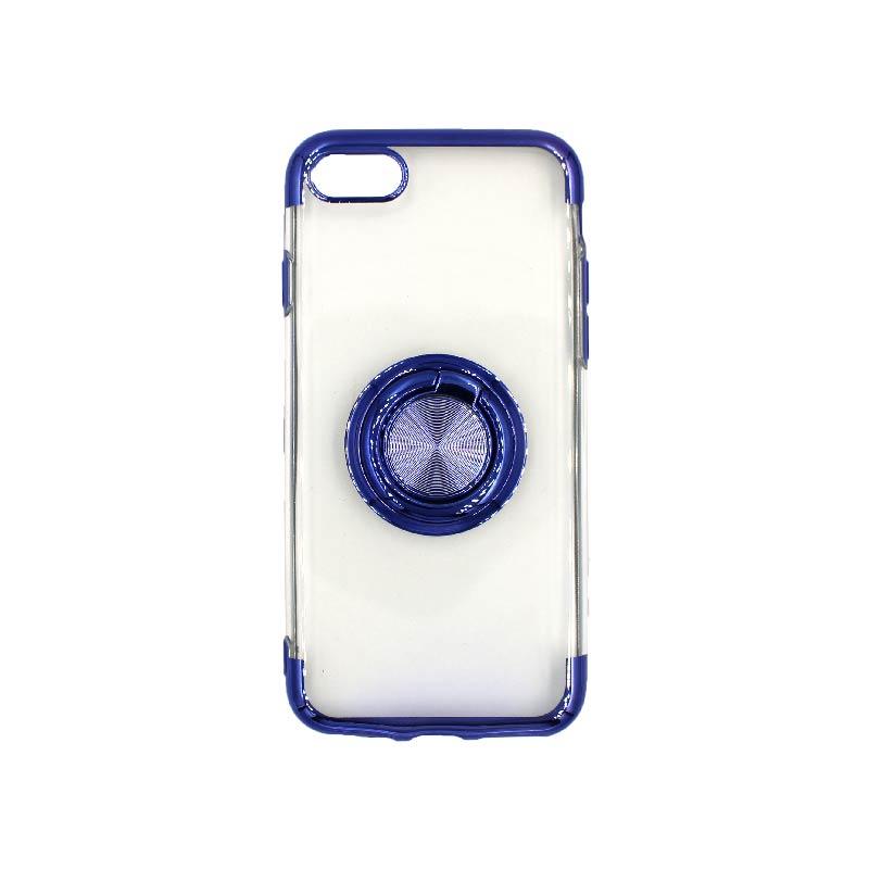 θήκη iphone 7 / 8 διάφανη σιλικόνη popsocket μπλε 1