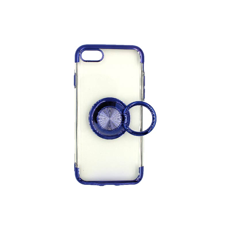 θήκη iphone 7 / 8 διάφανη σιλικόνη popsocket μπλε 2