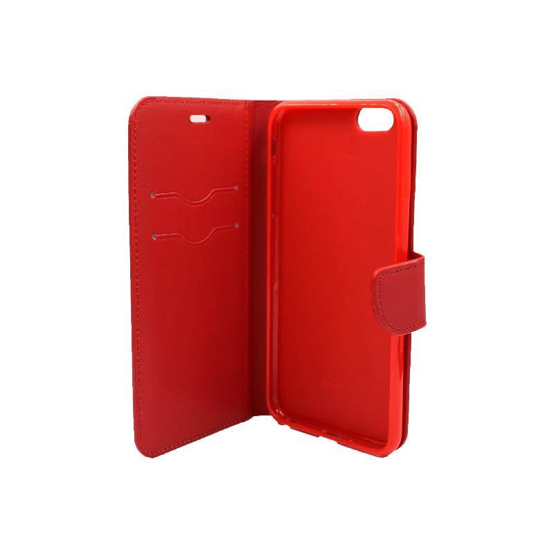 θήκη iphone 6 plus πορτοφόλι με κράτημα κόκκινη 3