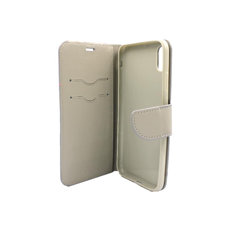 θήκη iphone X / Xs / XR / Xs Max πορτοφόλι με λουράκι γκρι 2