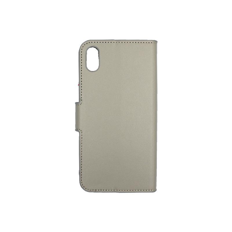 θήκη iphone X / Xs / XR / Xs Max πορτοφόλι με λουράκι γκρι 1
