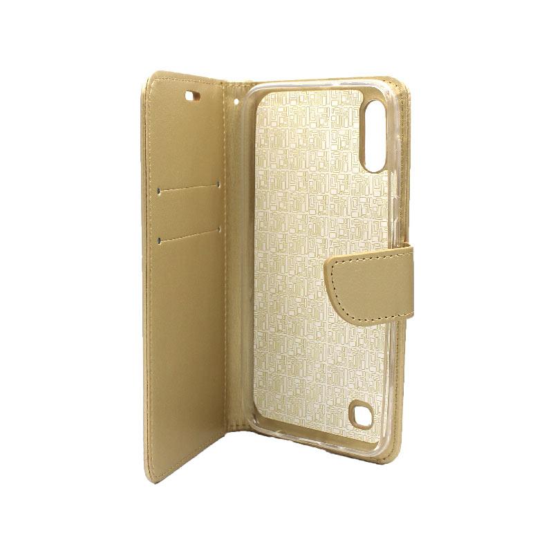 Θήκη Samsung Galaxy A10 / M10 Wallet χρυσό 3