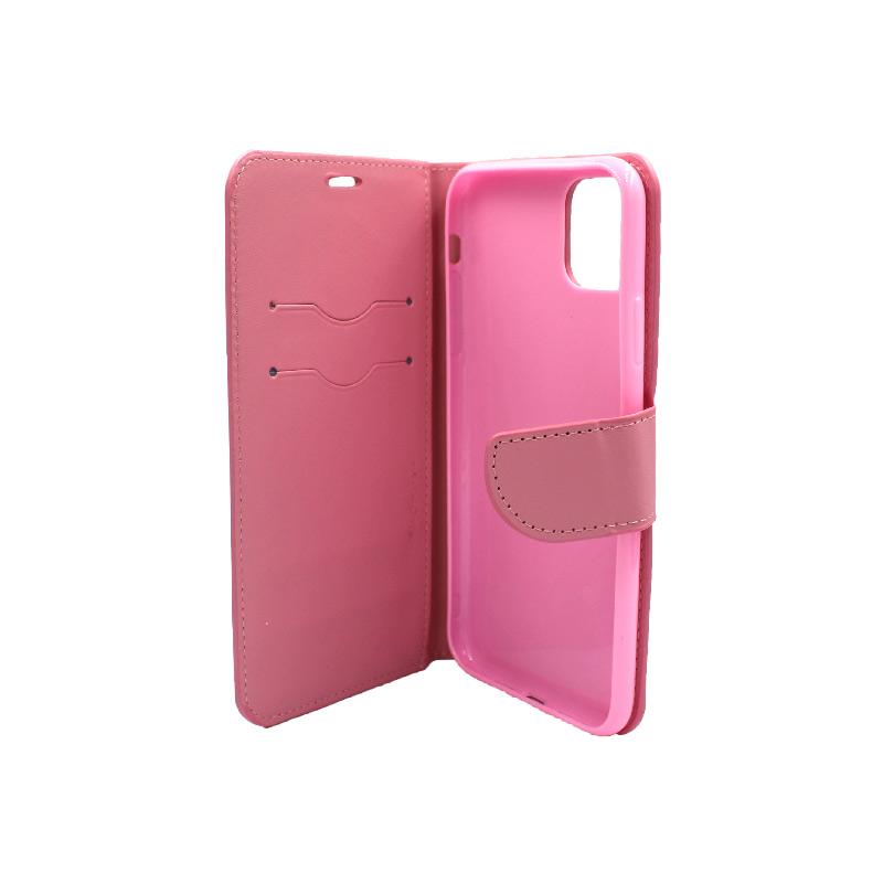 θήκη iphone 11 pro πορτοφόλι με λουράκι ροζ 3