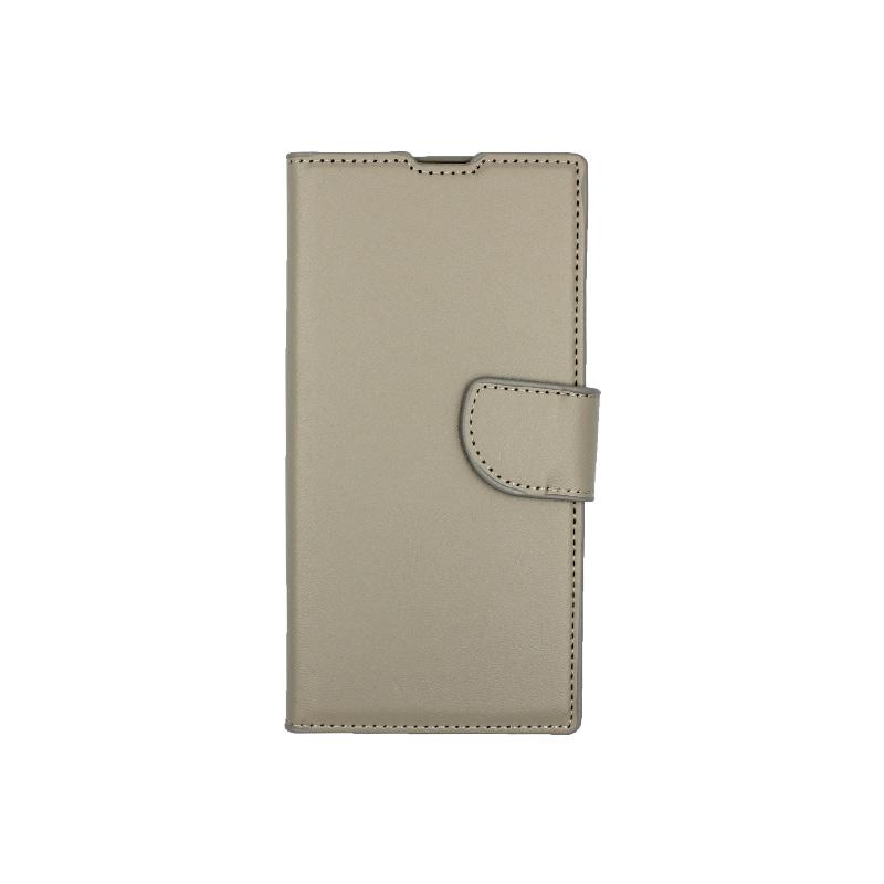 Θήκη Samsung Galaxy Note 10 πορτοφόλι γκρι 1
