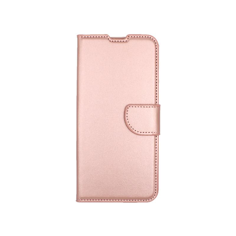 Θήκη Samsung Galaxy A70 / Α70S Wallet ροζ χρυσό 1