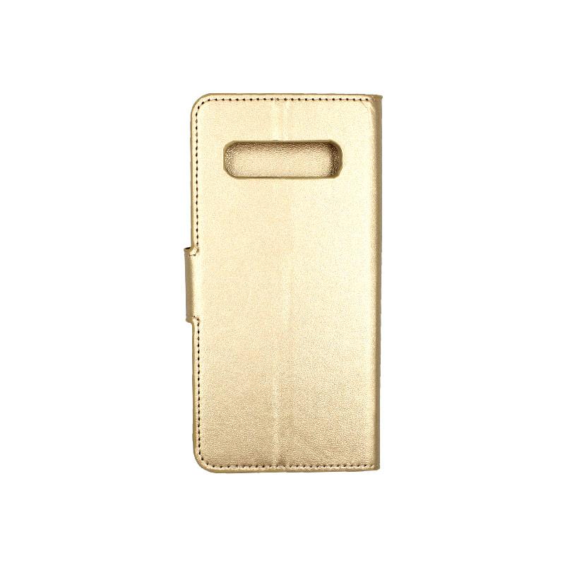 Θήκη Samsung Galaxy S10 πορτοφόλι χρυσό 2