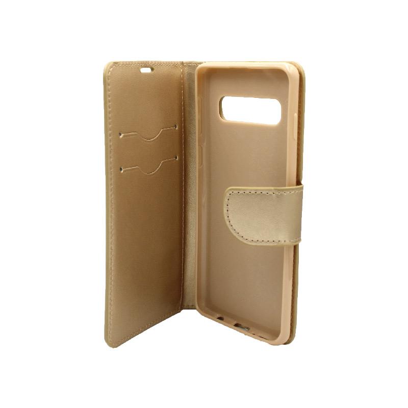 Θήκη Samsung Galaxy S10 πορτοφόλι χρυσό 3