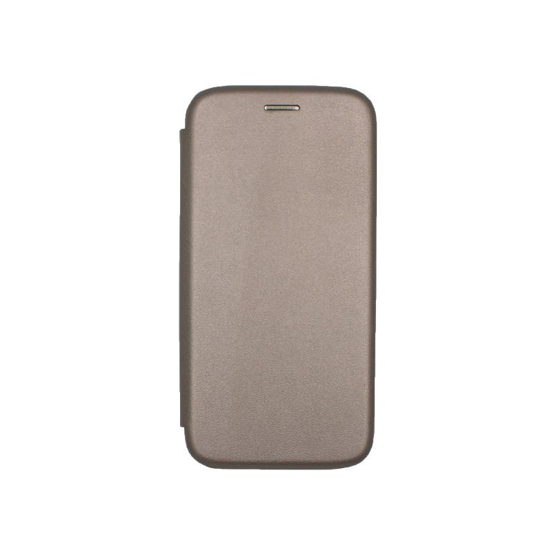 Θήκη Samsung Galaxy A5 / Α8 2018 Πορτοφόλι με Μαγνητικό Κλείσιμο γκρι 1
