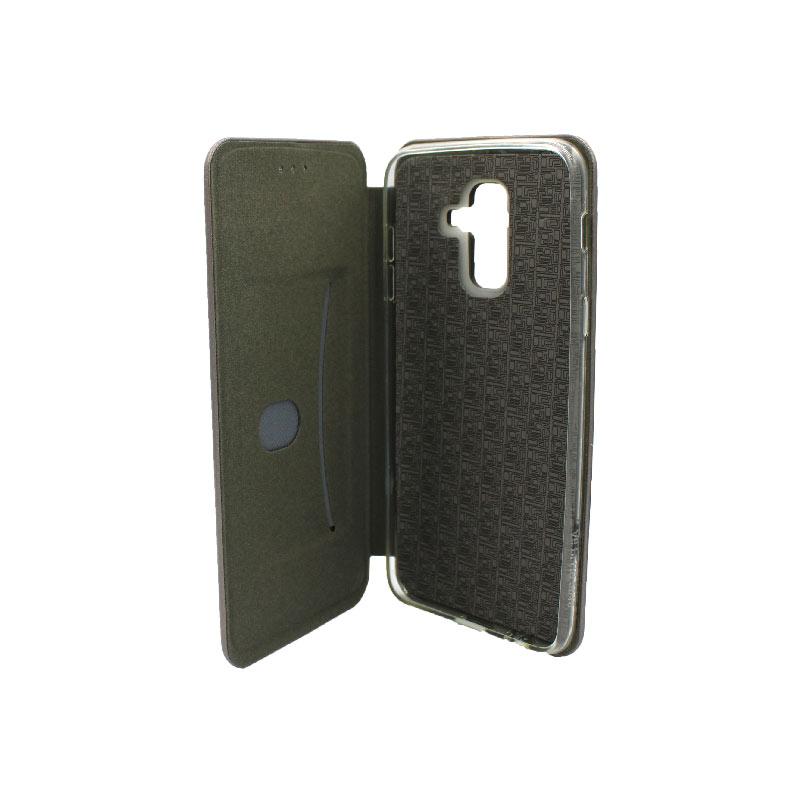 Θήκη Samsung Galaxy A6 Plus / J8 2018 Πορτοφόλι με Μαγνητικό Κλείσιμο γκρι 3