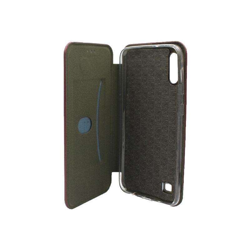 Θήκη Samsung Galaxy A10 / M10 Πορτοφόλι Με Μαγνητικό Κλείσιμο μπορντό 3