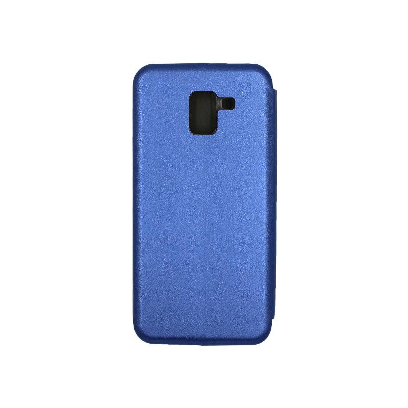 Θήκη Samsung Galaxy J6 Πορτοφόλι με Μαγνητικό Κλείσιμο μπλε 2