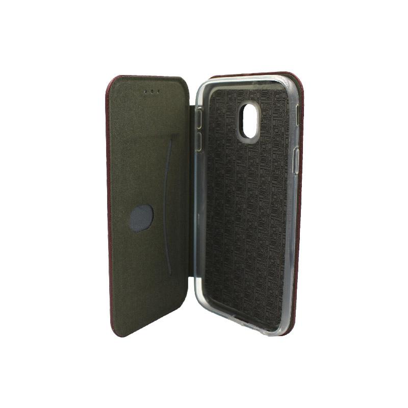 Θήκη Samsung Galaxy J3 2017 Πορτοφόλι με Μαγνητικό Κλείσιμο μπορντό 3