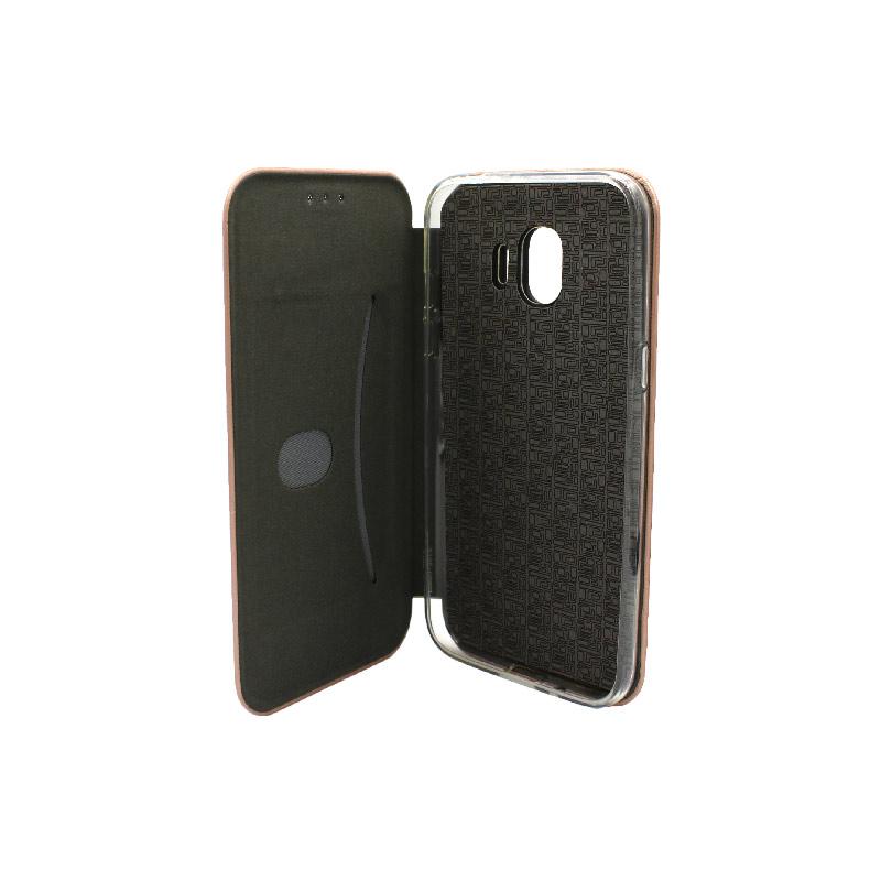 Θήκη Samsung Galaxy J2 Pro Πορτοφόλι με Μαγνητικό Κλείσιμο ροζ χρυσό 3