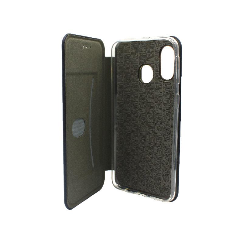 Θήκη Samsung Galaxy A40 Πορτοφόλι με Μαγνητικό Κλείσιμο σκούρο μπλε 3