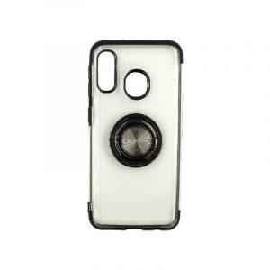 Θήκη Samsung Galaxy A10e / A20e Διάφανη Σιλικόνη με Popsocket μαύρο 1