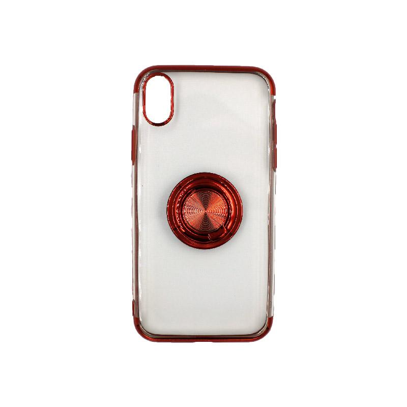 θήκη iphone X / XS/ XR / XS MAX διάφανη σιλικόνη popsocket κόκκινο 1