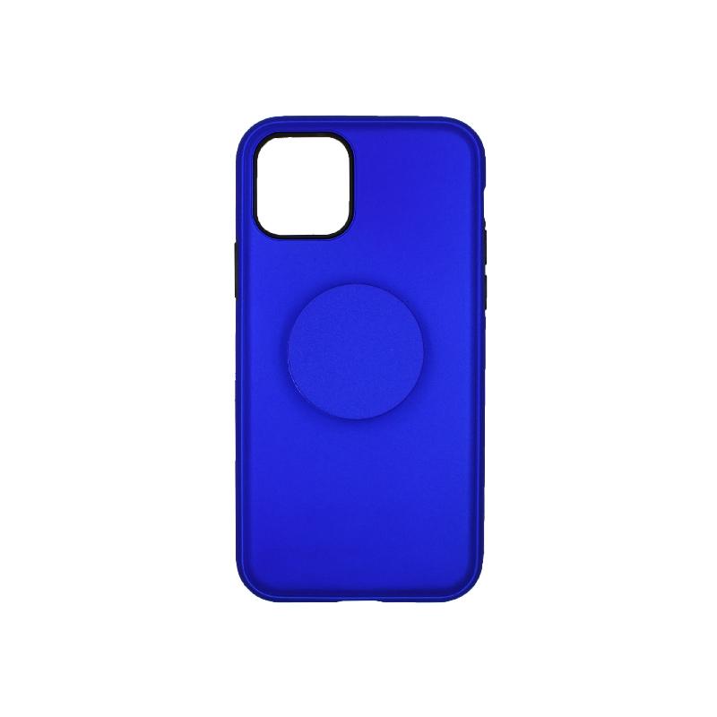 θήκη iphone 11 / 11 pro σιλικόνη popsocket μπλε 3
