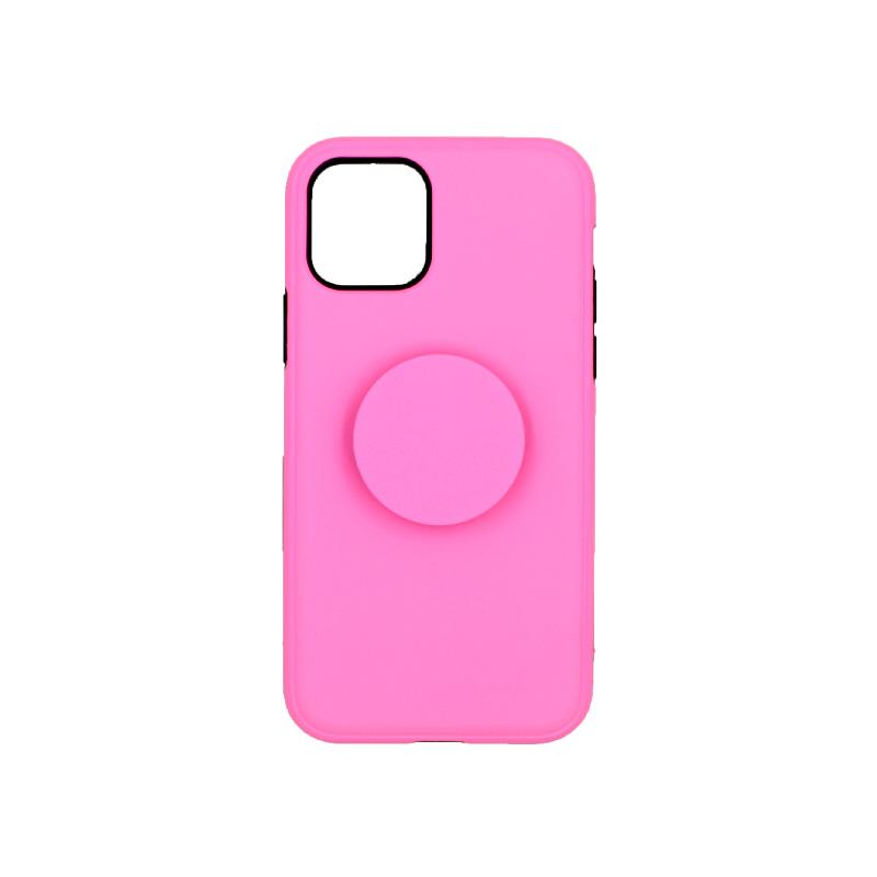 θήκη iphone 11 / 11 pro σιλικόνη popsocket ροζ 3