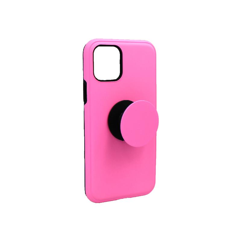 θήκη iphone 11 / 11 pro σιλικόνη popsocket ροζ 1