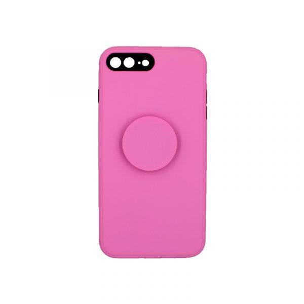θήκη iphone 7 Plus / 8 Plus σιλικόνη popsocket ροζ 3