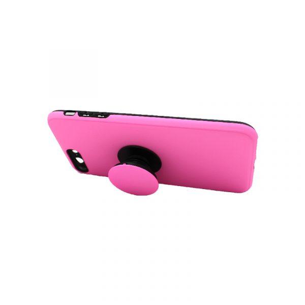 θήκη iphone 7 Plus / 8 Plus σιλικόνη popsocket ροζ 2