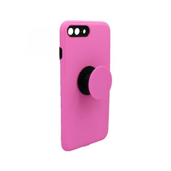 θήκη iphone 7 Plus / 8 Plus σιλικόνη popsocket ροζ 1