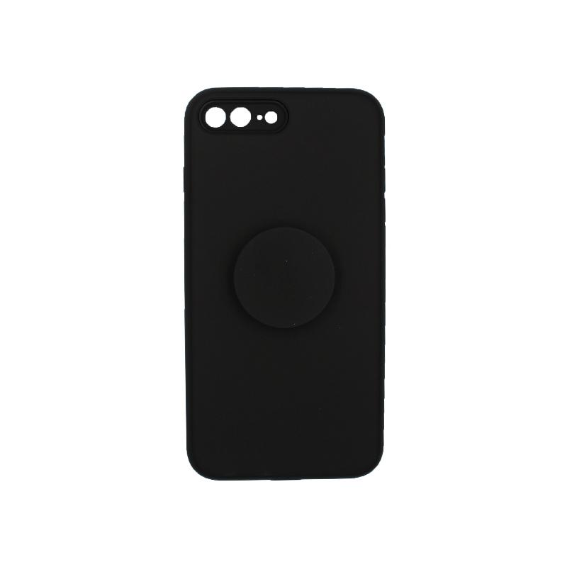 θήκη iphone 7 Plus / 8 Plus σιλικόνη popsocket μαύρο 1