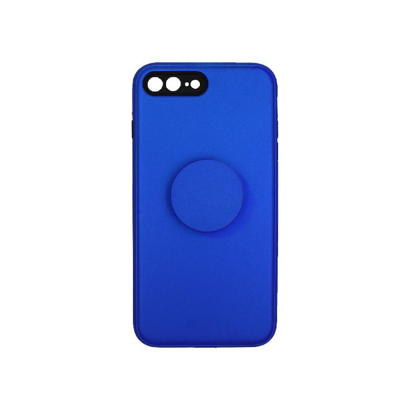 θήκη iphone 7 Plus / 8 Plus σιλικόνη popsocket μπλε 1