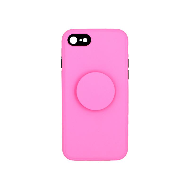 θήκη iphone 7 / 8 / SE σιλικόνη popsocket ροζ 1
