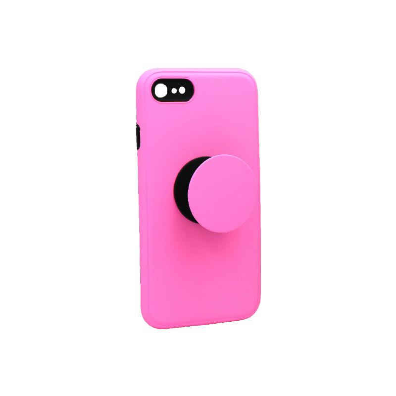 θήκη iphone 7 / 8 σιλικόνη popsocket ροζ 2