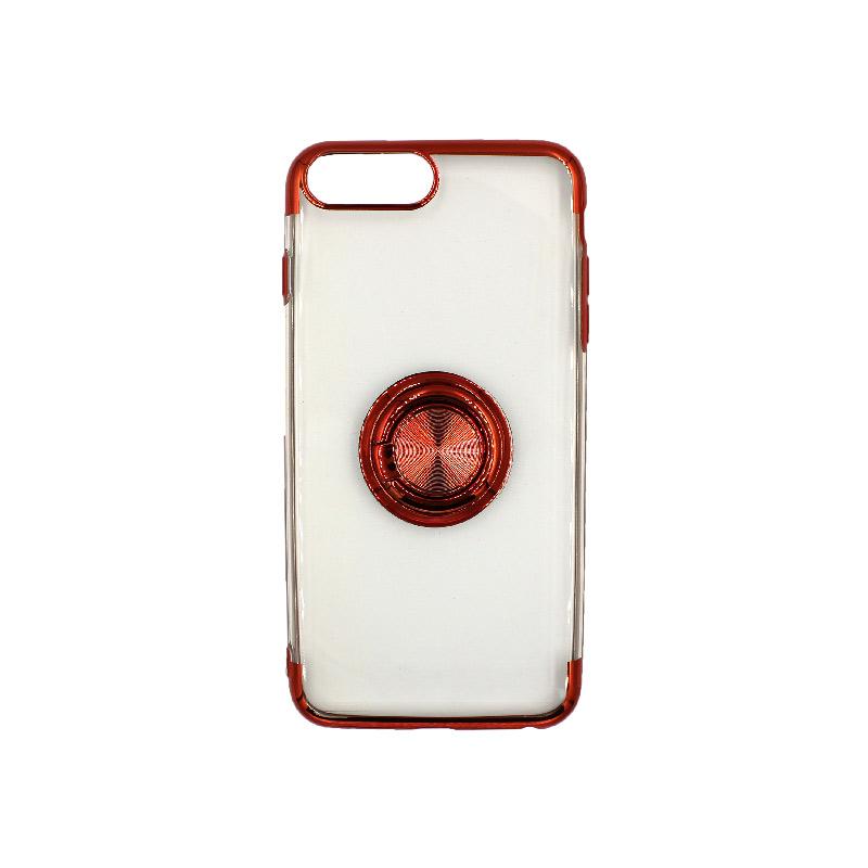 θήκη iphone 7 Plus / 8 Plus διάφανη σιλικόνη popsocket κόκκινο 1