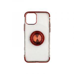 θήκη iphone 11 / 11 pro διάφανη σιλικόνη popsocket κόκκινο 1