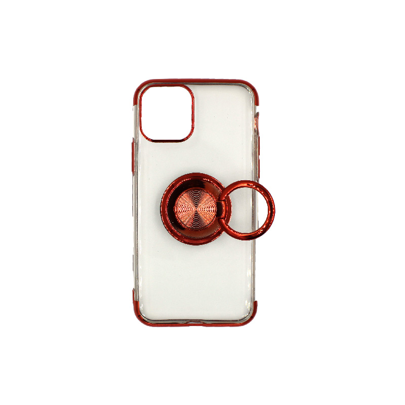 θήκη iphone 11 / 11 pro διάφανη σιλικόνη popsocket κόκκινο 2