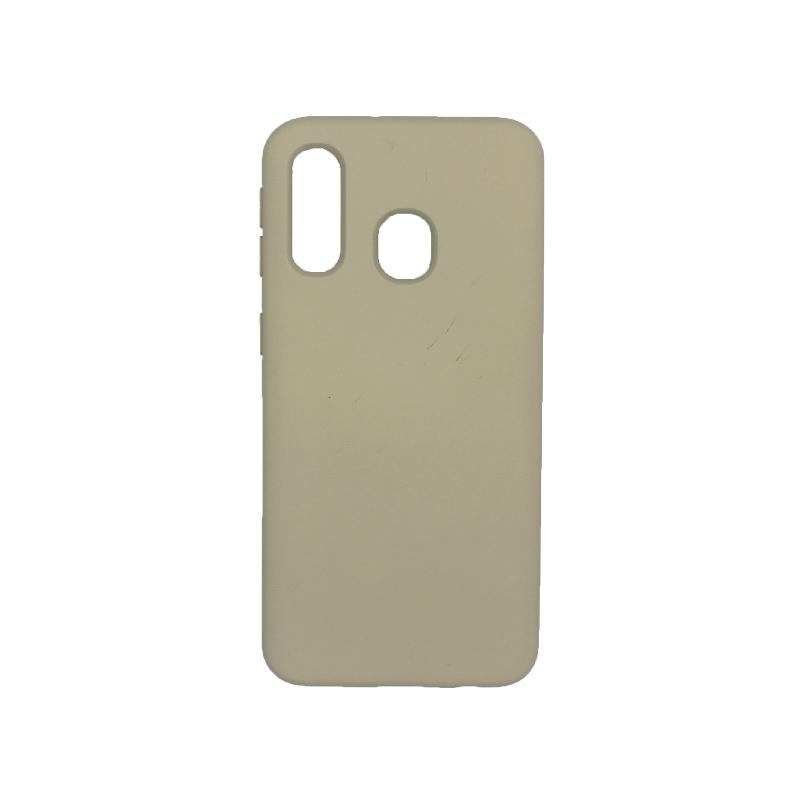 Θήκη Samsung Galaxy A40 Silky and Soft Touch Silicone γκρι 1