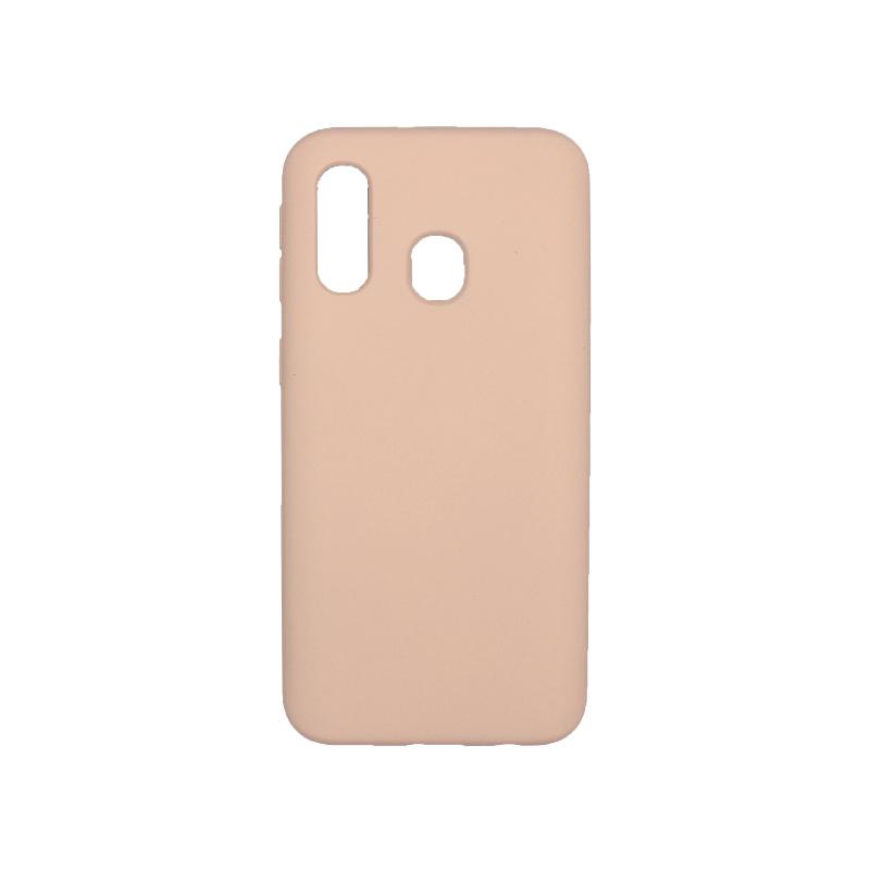 Θήκη Samsung Galaxy A40 Silky and Soft Touch Silicone μπεζ 1