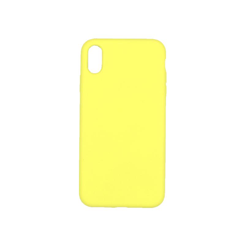 θήκη iPhone X / XS / XR/ XS MAX silky and soft touch σιλικόνη κίτρινο πίσω