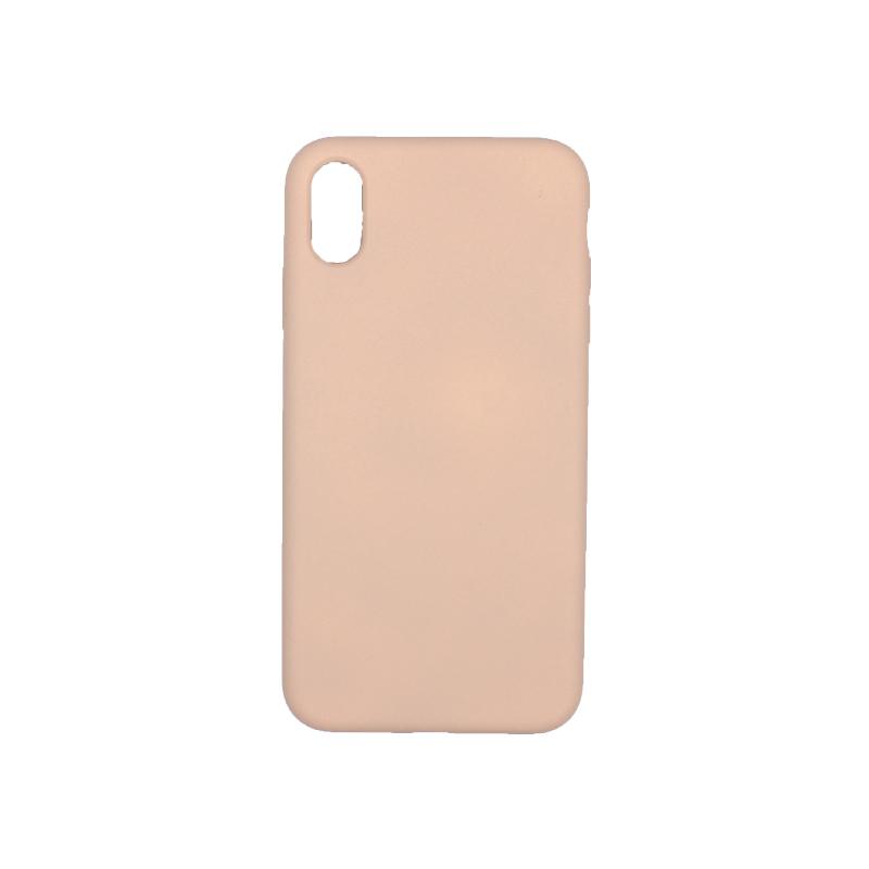 θήκη iPhone X / XS / XR / XS MAX silky and soft touch σιλικόνη μπεζ πίσω