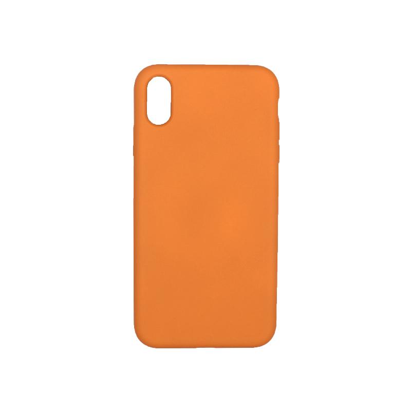 θήκη iPhone X / XS / XR / XS MAX silky and soft touch σιλικόνη πορτοκαλί πίσω